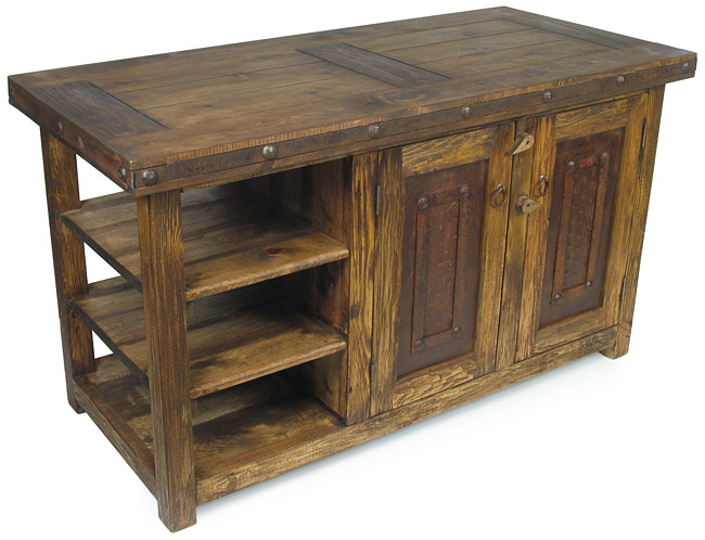 Rustic Old Wood Kitchen Island with Iron Accents