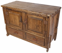 Rustic Old Wood Short Hutch with 2 Doors and Lower Drawers