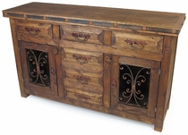 Rustic Wood Sideboard with Iron Accents - 2 Doors - 6 Drawers