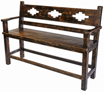 Rustic Old Wood Tall Bench with Southwest Design Cut-Out
