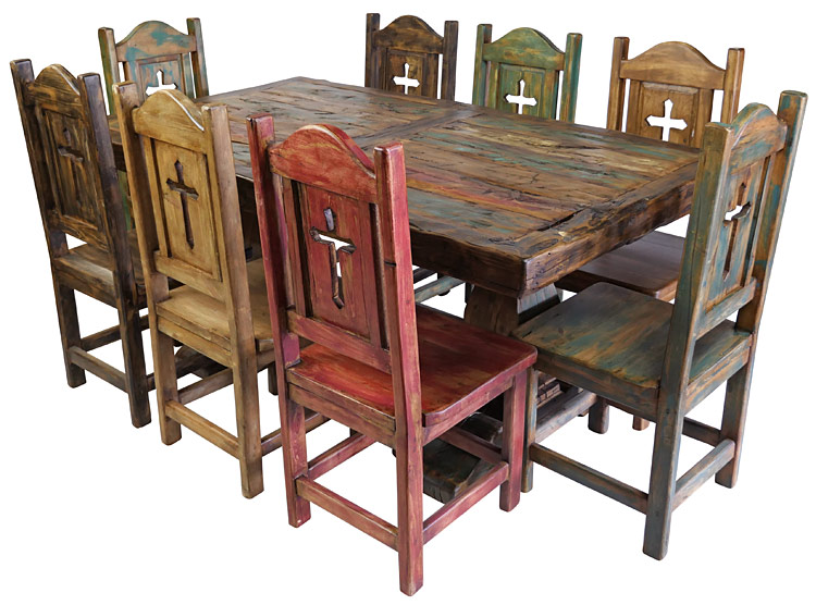 Rustic Painted And Natural Wood Dining Set With Thick Trestle Pedestal Base
