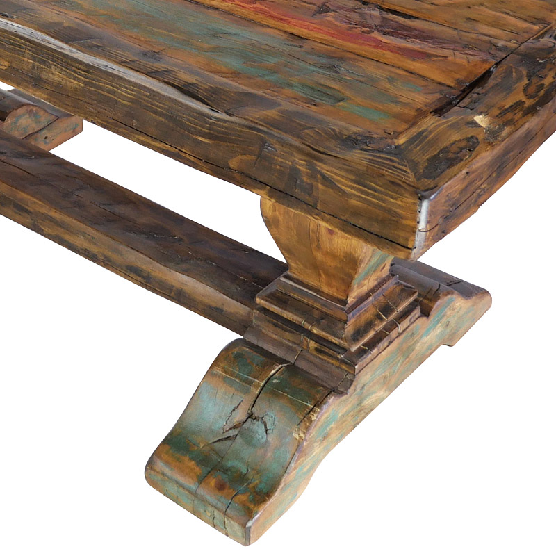 Rustic Painted And Natural Wood Dining Table With Thick Trestle Pedestal Base