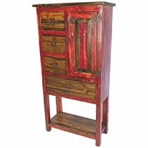 Rustic Painted and Natural Wood Multi-Use Cabinet with Lower Shelf - Red