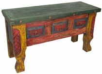 Rustic Painted Lion Foot Buffet Table
