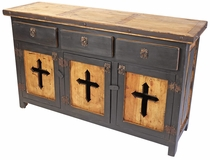 Rustic Painted Wood Buffet with Cross Cutout Doors and Iron Accents