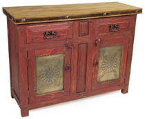 Rustic Painted Wood Buffet with Embossed Tin Panel Doors