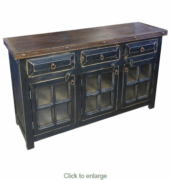 Rustic Painted Wood Buffet with Glass Doors - Black