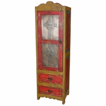 Rustic Painted Wood Cabinet with Embossed Tin Doors - Red