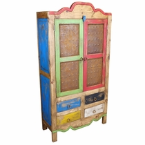 Rustic Painted Wood Cabinet With Tin Panel Doors And 4 Drawers
