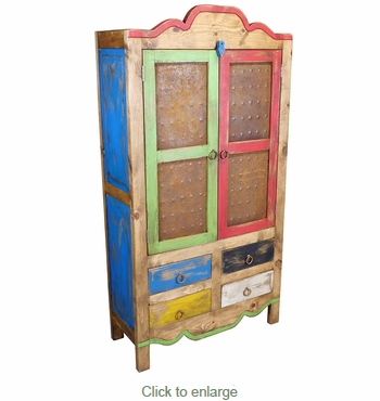 Rustic Painted Wood Cabinet With Iron Panel Doors And 4 Drawers