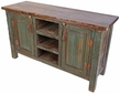 Rustic Painted Wood Credenza or Entertainment Console - Green