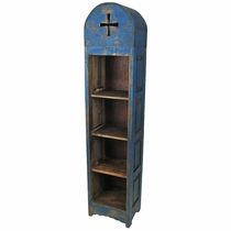 Rustic Painted Wood Domed Skinny Bookcase - Blue