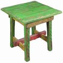 Rustic Painted Wood Rancherita End Table