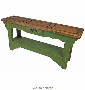 rustic painted wood sofa table green natural top tables for sale canada with storage