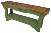 Rustic Painted Wood Sofa Table Green with Natural Top