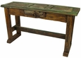 Rustic Painted Wood Sofa Table with One Drawer