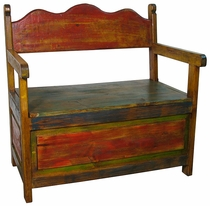 Rustic Painted Wood Storage Bench