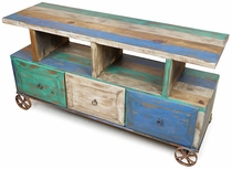 Rustic Painted Wood Wagon Cart TV Entertainment Stand with Storage