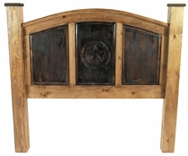 Rustic Pine Carved Texas Lone Star Headboard