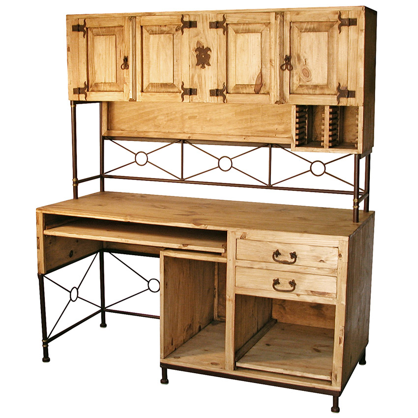 Rustic Pine And Wrought Iron Computer Desk With Upper Hutch Mexican Office Furniture