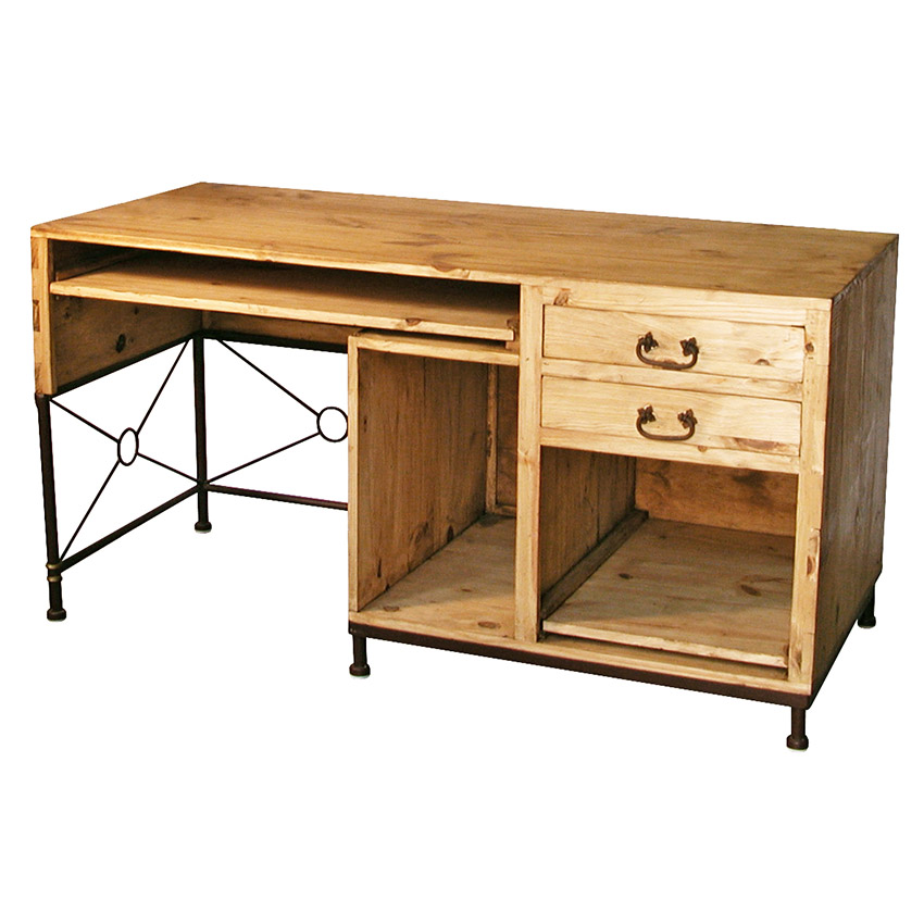 Rustic Pine Computer Desk With Iron Accent Mexican Office Furniture
