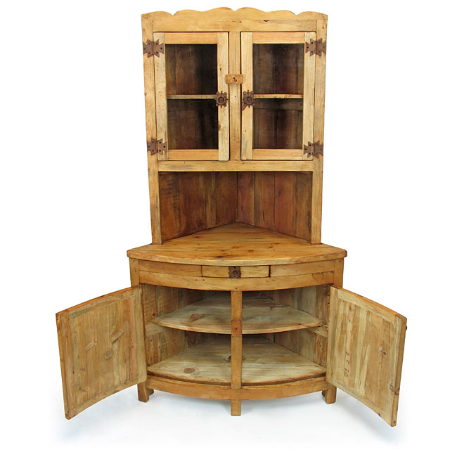 Genial Rustic Pine Corner China Hutch With Glass