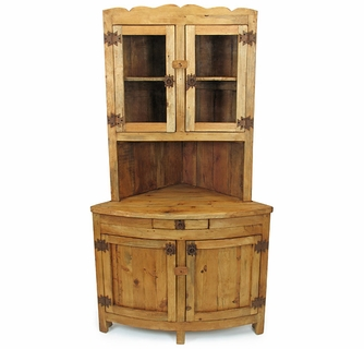 Ordinaire Rustic Pine Corner China Hutch With Glass