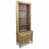 Rustic Pine Entry Table with Cabinet and Shelves