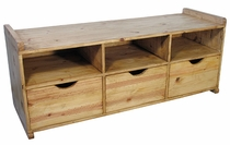Rustic Pine Entry Way Bench with Drawers