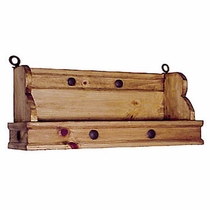 Mexican Rustic Pine Hanging Shelf with Nailheads