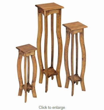 Rustic Pine Pedestal Plant Stands - Set of 3