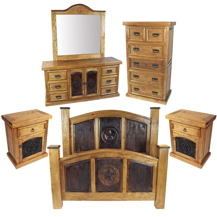 Rustic Pine Texas Lone Star Piece Bedroom Set - Star bedroom furniture