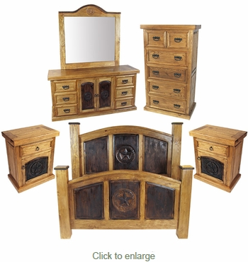 Rustic Pine Texas Lone Star 5 Piece Bedroom Set