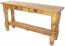 Rustic Pine Turned Leg Sofa Table with 2 Drawers and Shelf