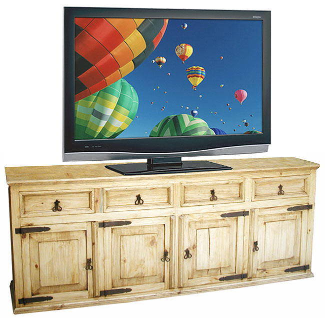 Rustic Pine Tv Credenza Entertainment Console Dining Room Buffet