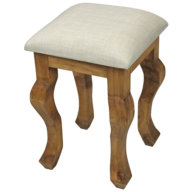 Rustic Mexican Pine Vanity Stool with Padded Seat
