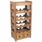 Rustic Pine Wine Rack with Spindle Sides and Small Drawers