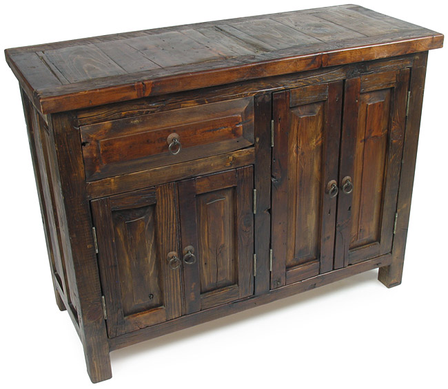 - Rustic Reclaimed Wood Buffet With 4 Doors And 1 Drawer