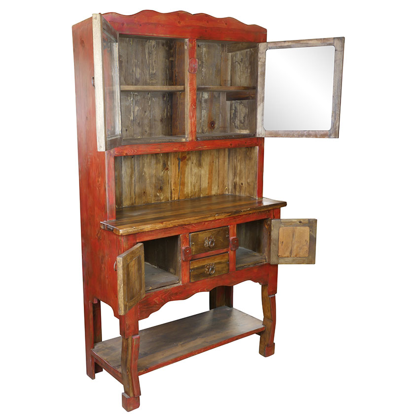 Rustic Red And Natural Wood China Cabinet With Gl Doors