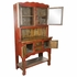 Rustic Red and Natural Wood China Cabinet with Glass Doors