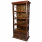 Rustic Red Painted Wood Book Shelf with Iron Scrolls and Iron Panel Doors