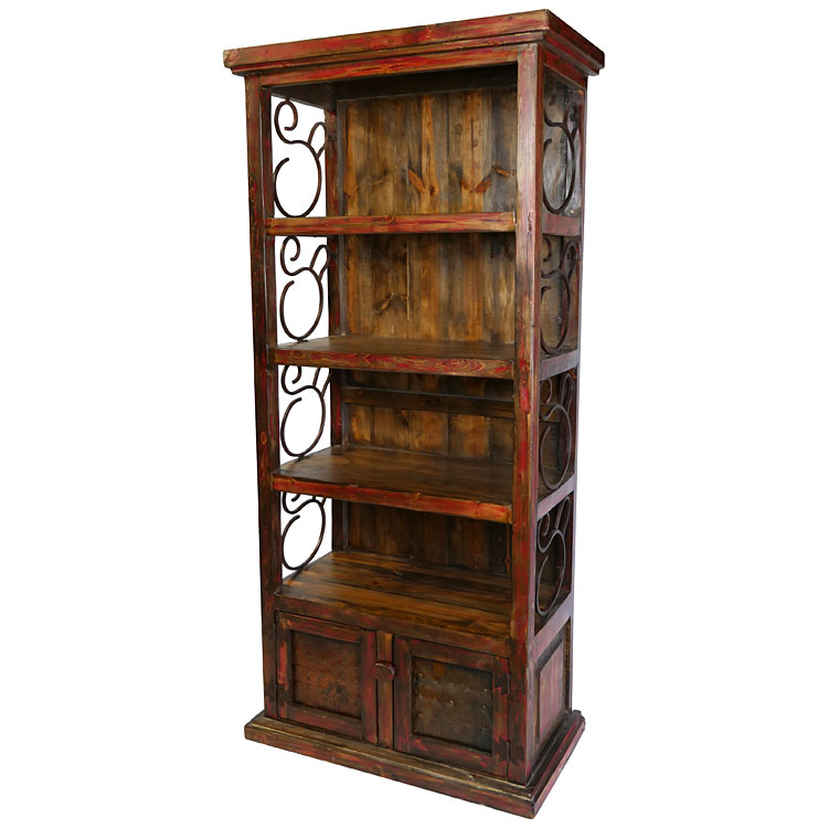 Rustic Red Painted Wood Book Shelf With Iron Scrolls And Panel Doors