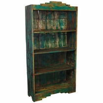 Rustic Santa Fe Open Bookcase - Blue