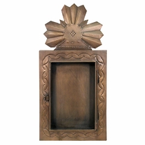 Rustic Tin Crown Shadow Box with Hinged Glass Front