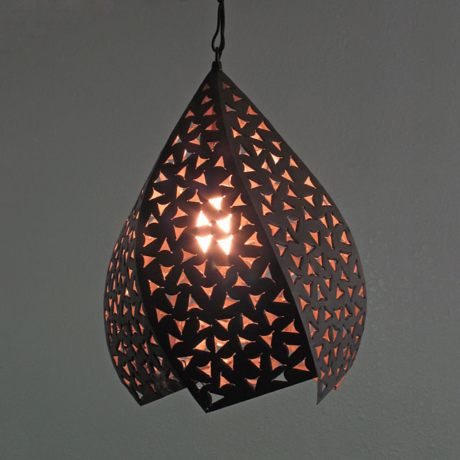 Rustic Tin Hanging Twisted Light Fixture