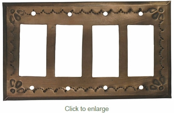 Rustic Tin Quadruple Rocker Switch Cover - Star