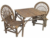 Rustic Twig Patio Set - Table & 4 Chairs - With Bark