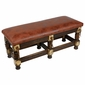 Rustic Western Bench with Faux Leather Cushioned Seat