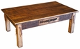 Rustic Western Coffee Table with Cowhide Drawer & Leather Strips