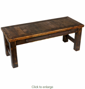 Rustic Western Coffee Table with Iron Band